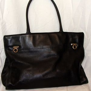 LEVENGER-LARGE-BLACK-LEATHER-PURSE-TOTE-BAG